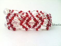 Sparkly Moonstone and Red Macrame Beaded Bracelet by knottyandnyce