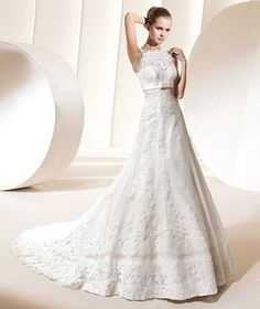 A-Line Round Long Lace Wedding Dress