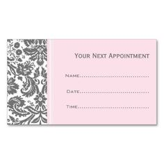 Pink Grey Damask Salon Appointment Cards Business Card Template. Make your own business card with this great design. All you need is to add your info to this template. Click the image to try it out! #GreatBusinessCardMakers