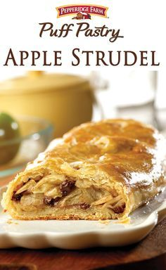 Puff Pastry Apple Strudel Recipe. Fall is here! What better way to celebrate than with an apple strudel? Show off those freshly picked apples in this easy and delicious dessert. Cinnamon and raisins highlight fall's favorite fruit in a classic dish the whole family will love!