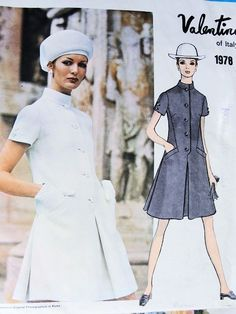 1960s Mod VALENTINO Dress Pattern VOGUE COUTURIER DESIGN 1978 Cute Design Bust 36 Vintage Couture Sewing Pattern