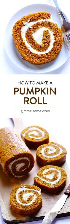 Learn How To Make A Classic Pumpkin Roll With This Delicious Recipe And Step-By-Step Tutorial Holiday Desserts, Just Desserts, Holiday Recipes, Delicious Desserts, Yummy Food, Thanksgiving Deserts, Pumpkin Recipes, Cake Recipes, Dessert Recipes