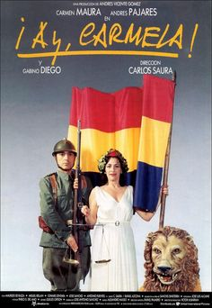 "¡Ay, Carmela! - Carlos Saura 1990 - VH08624 -- ""Spanish Civil War: Carmela & her companions quit their posts as entertainers for the Republican troops. They accidentally cross over to the Nationalist zone, get arrested & are given the chance to perform for their freedom."""