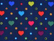 Jackenstoff Softshell bunte Herzen, dunkelblau