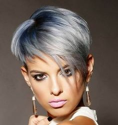 Silver Asymmetrical Pixie With Blue Balayage