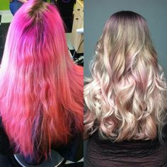 Before and after violet, steel and pastel pink melt
