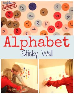 Sticky wall with alphabet letters. What could be more fun for toddlers? From Toddler Approved.