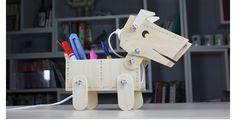 Venta caliente DIY coeficiente intelectual creativa LED E27 caja de lápiz de escritorio perro Robot de luz mesa de madera de los accesorios infantiles regalo del estudiante en Lámparas de Escritorio de Iluminación en AliExpress.com | Alibaba Group