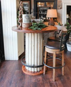 Barnwood Slab Table With Industrial Metal Base Buttermilk Dining Chairs | Barnwood  Furniture | Pinterest | Industrial Metal, Dining Chairs And Industrial