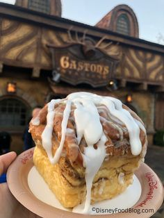 Gaston's Tavern in the Magic Kingdom at Walt Disney World now gives guests a cup full of extra icing upon request, making this popular snack even sweeter! Comida Disney World, Disney World Food, Disney World Magic Kingdom, Magic Kingdom Food, Disney Desserts, Disney Snacks, Cute Desserts, Disney Recipes, Disney Dishes