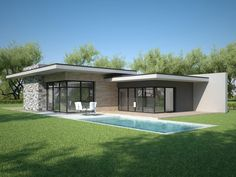 Individual modern Architectural design and concepts. Modern Glass House, Modern House Facades, Modern House Design, Modern Architecture, House Layout Plans, House Layouts, House Roof, Facade House, Flat Roof House Designs