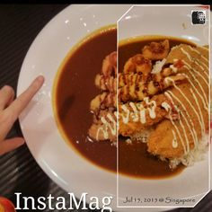 #FD1507 #JapaneseFood #Curry  为啥叫Monster Curry呢?我以为并不是咖喱辣得像怪物,而是因为份量。看看我的手和盘子的对比,这一盘两个人吃都撑。