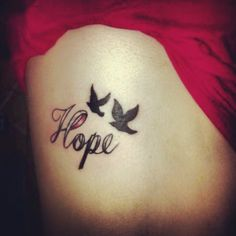 "My hope for the cure tattoo to remember my aunt and grandmother who both past of cancers. Pink for Breast cancer and clear for lung cancer rip ❤️ (Change ribbon part of ""H"" to green and get rid of birds) I Tattoo, Tattoo Quotes, Breast Cancer, Lung Cancer, Hope Symbol, Cancer Support, White Ribbon, Some Ideas, Future Tattoos"