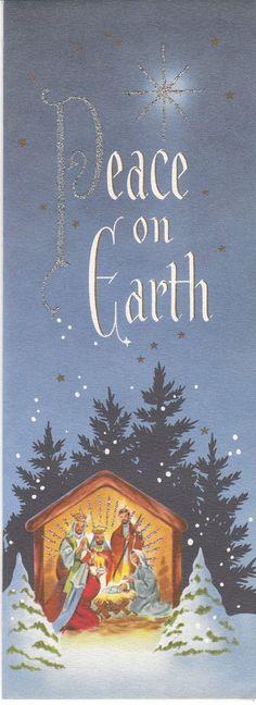 Vintage Christmas Card Nativity Glitter Slim A Cardinal Creation Mid Century | eBay