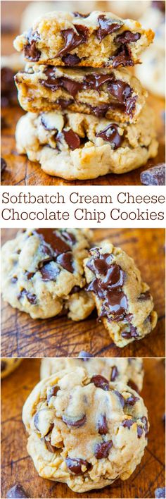 Softbatch Cream Cheese Chocolate Chip Cookies - Move over butter, cream cheese makes these cookies thick and super soft! Softbatch Cream Cheese Chocolate Chip Cookies - Move over butter, cream cheese makes these cookies thick and super soft! Köstliche Desserts, Delicious Desserts, Yummy Food, Beste Desserts, Layered Desserts, Plated Desserts, Baking Recipes, Cookie Recipes, Baking Ideas