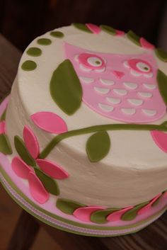 Owl baby shower cake for a little girl, decorated to match the bedding. Butter cake with vanilla buttercream, fondant owl and leaves.