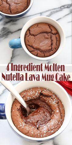 4 Ingredient Molten Nutella Lava Mug Cake — Deliciously Cooking . Vegan Cake 4 ingredient vegan mug cake Diy Nutella, Nutella Lava Cake, Desserts Nutella, Molten Lava Cakes, Köstliche Desserts, Delicious Desserts, Dessert Recipes, Yummy Food, Easy Nutella Recipes