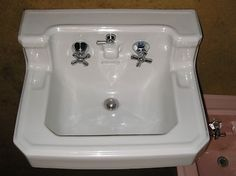 Antique Vintage American Standard Pink Bathroom Sink Console Sink
