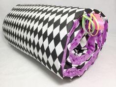 Kocyk nieocieplany 50x75 - Karo - fioletowy