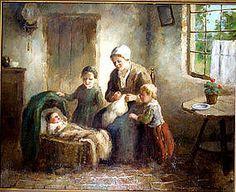 Mother & Children in Kitchen: Cornelius Bouter