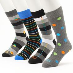 Funky Socks Dot & Striped Crew Socks - Men