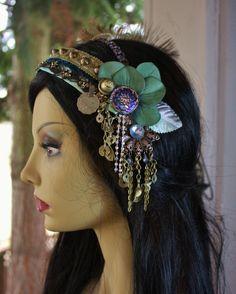 Art Nouveau Headdress- Asters and Verdigris- Bellydance, Tribal Fusion, Costume, Wedding, Party. $100.00, via Etsy.