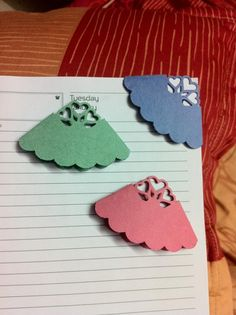 These are punched bookmarks made from craft paper.