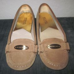 Micheal Kors Tan Suede Leather Shoes Flats Slip Ons Loafers Sz 7 Gold MK Plate