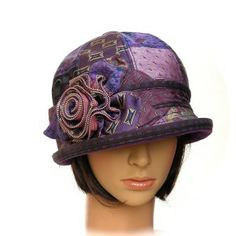 BOWLER - purple vintage silk tie patchwork with zipper rosette & leaves - Rosehip Hat Studio