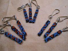 Handmade beaded tubular peyote stitch Zipper Pull Blue Brown assorted design choices custom personalized