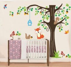WallStickersDecal Jungle Forest Fox & Squirrel & Birds playing on colorful tree wall decal sticker by WallStickersDecal, http://www.amazon.co.uk/dp/B00E1UXBEC/ref=cm_sw_r_pi_dp_nV3dsb1B4WG0H