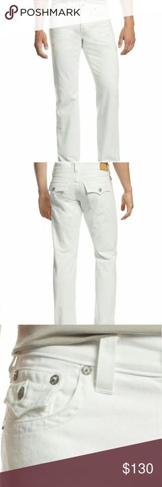 """Men's True Religion Jeans Liven up off duty looks with these white wash jeans , cut with a relaxed fit for casual , cool style by True Religion. Features a ; white wash, approximately 32"""" inseam, relaxed straight fit, zip fly with button closure, belt loops,five pockets styling, back pockets with flap closure, cotton. Check out my closet for other name brand apparel + more added daily. Have a wonderful day everyone, and thanks for stopping by my closet. True Religion Jeans Relaxed"""