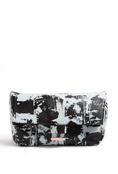 Cedric Charlier Printer Leather Fold Over Clutch
