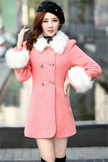 2013 Fashion Fur Collar Double-Breasted Woolen Coat