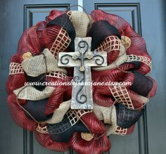 New to CreationsbySaraJane on Etsy: Burgundy and Black Rustic Cross Wreath (85.00 USD)