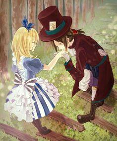 Alice in Wonderland, Shingeki no Kyojin, Christa Renz, Ymir (Shingeki no Kyojin), Kissing Hand Mad Hatter Anime, Manga Anime, Ymir And Christa, Grimgar, Alice In Wonderland Drawings, Alice In Wonderland Fanart, Alice Liddell, Alice Madness, Anime Version