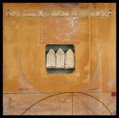 "Distance + Observation # 16, 11"" x 11"" mixed media assemblage Graceann Warn"