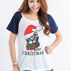 Cat T Shirt Funny Christmas Shirts TShirts Women Graphic Tee Instagram Tumblr Cool Cute Meow Christmas Shirt Gifts Teenage Girl Clothes