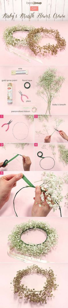 Diy Crafts Ideas : How-to DIY Babys Breath Floral Crown For full instructions plus tips visit th Diy Flower Crown, Diy Flowers, Wedding Flowers, Flower Crowns, Flower Girls, Babys Breath Flowers, Fleurs Diy, Deco Floral, Floral Arrangements