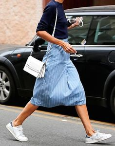 Pinstriped.. #StreetStyle #Pinstripe #Skirt #Sneakers #Outfit