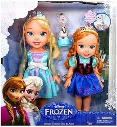 The Best Disney Frozen Gift Ideas - Toddler-themed Anna and Elsa dolls. Love them!