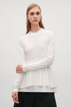 COS image 7 of Double-layered peplum top in White