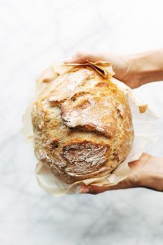 Miracle No Knead Bread! this is SO UNBELIEVABLY GOOD and ridiculously easy to make. crusty outside, soft and chewy inside - perfect for dunking in soups! Sponsored by @LodgeCastIron | http://pinchofyum.com