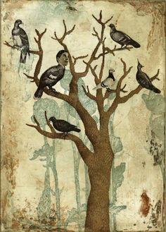 Piia Lehti: Jos olisin lintu / If I Were a Bird, etching, 2007