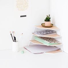 Transform a plate rack into the perfect workspace tidy with this simple tutorial