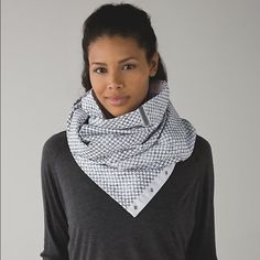 Rare lululemon vinyasa scarf! Sold out online and in stores!! Beautiful white fleece vinyasa scarf. New with tags!!! Cheaper on M e r c lululemon athletica Accessories Scarves & Wraps