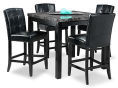 Casual Dining Room Furniture-The Martina II Collection-Martina II Pub Table Black Leather Chair, Leather Chairs, High Top Tables, Dining Room Furniture, Table And Chairs, Home Furnishings, Kitchen Tables, Dining Tables, Casual
