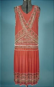 Beaded flapper dress, chiffon, 1920s. Great coral color, and beads painted to look like turquoise, coral and pearls.