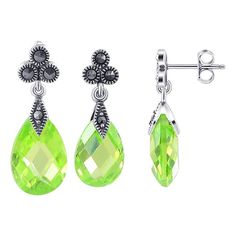 .925 Sterling Silver Faceted Pear Shaped Apple Green Cubic Zirconia and Marcasite Accents Post Back Findings 8mm x 21mm Stud Earrings and 10mm x 23mm Pendant Jewelry Set