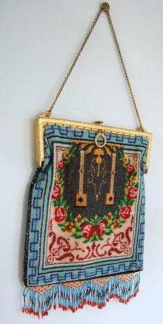 Antique Beaded Bag Purse Glass Seed Beads by GreatSilverFox